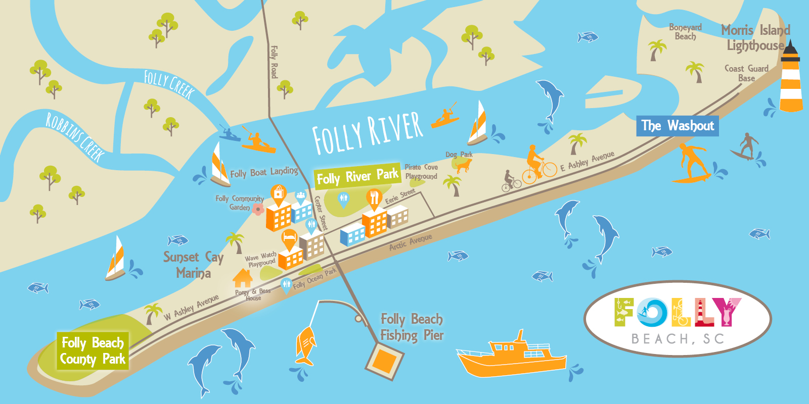 Sc Beaches Map Visit Folly© | Folly Beach's Official Site for Visitors Sc Beaches Map